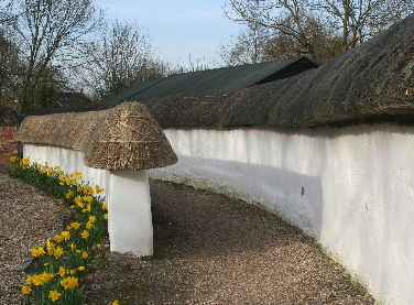 Cob walls and footpath